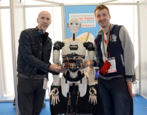 With Gaël Langevin and its 3D Printed humanoid robot at Maker Faire Rome 2015