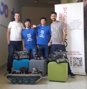 Geduino with Plutarco (Mauro Soligo, http://plutarcorobot.com), MyzharBot (Walter Lucetti, http://myzharbot.robot-home.it) and Panther (Raffaello Bonghi)